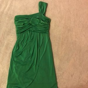 Green ruched Greek style dress